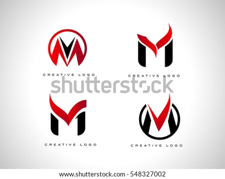 Letter M Logo With Red And Black Colors Icon Set