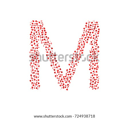 Letter M Made Of Red Hearts