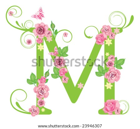 Letter M with roses for design - stock vector