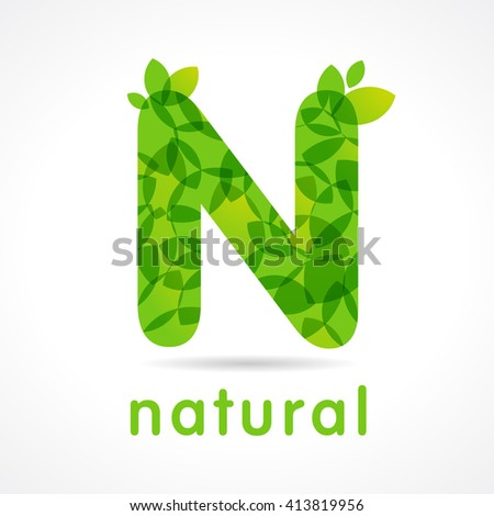 "Letter ""N"" eco leaves logo icon design template. N natural green logo"