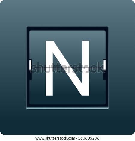 Letter N from mechanical scoreboard. Vector - stock vector