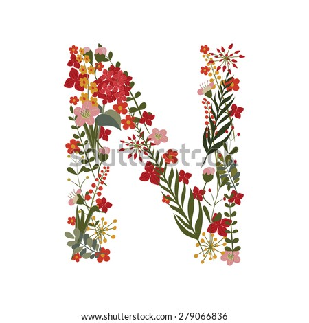 Letter N Of Green Grass And Flowers Stockfotos und