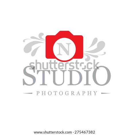 Letter N Logo Creative Red Camera Symbol Floral Elegant Calligraphic Ornament Line Art Monogram