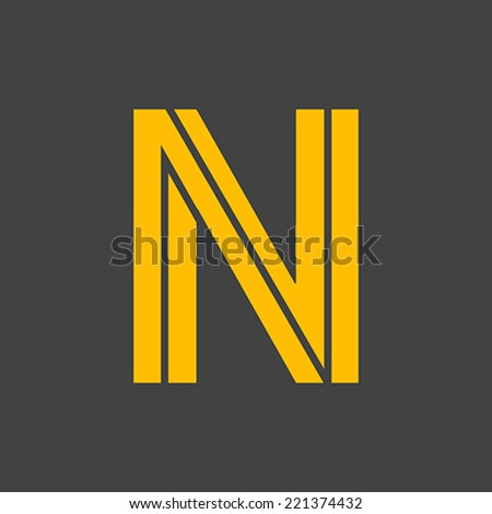 Letter N vector alphabet impossible shape.  ABC concept type as logo. Typography design - stock vector