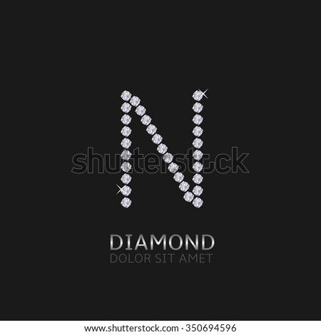 Letter N with gemstones. Luxury Diamond alphabet, Vector illustration - stock vector