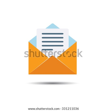 Letter Notification Icon. Flat style - stock vector