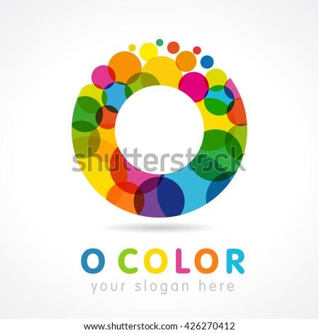 "Letter ""o"" business colorful logo vector template. Colored O logo. Ofice O icon in color  buble - stock vector"
