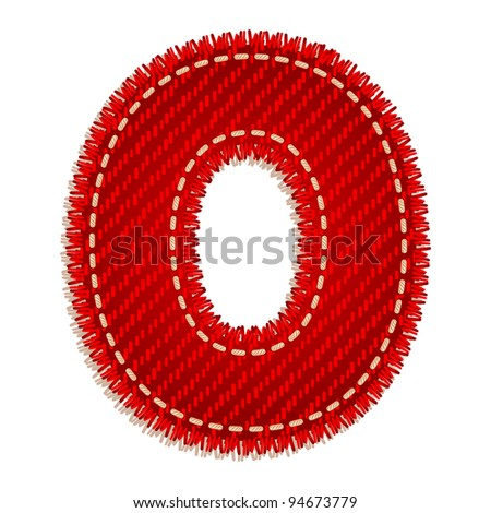 Letter O from red textile alphabet - stock vector