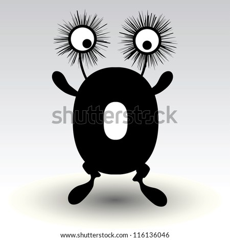 letter o, funny character design - stock vector