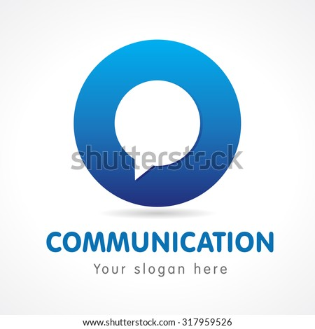 Letter O in the form of a circle with a bubble inside. Communication O logo - stock vector