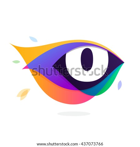 Letter O logo in peacock feather icon. Multicolor vector alphabet letters for app icon, corporate identity, card, labels or posters. - stock vector
