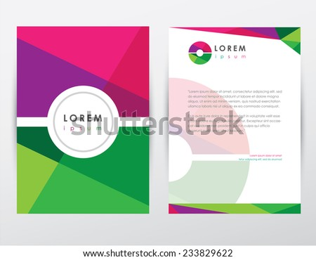 letter o logo style cover brochure and letterhead template design mockup set for business presentations- multicolored geometrical shapes pattern - stock vector