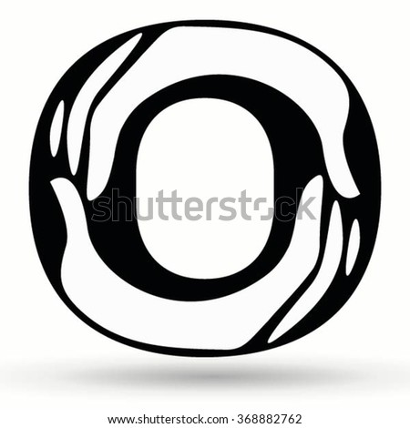 Letter O Made From Hands Hand Drawn Painted Black And White Alphabet Font