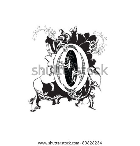 Letter O Ornate Black and White - stock vector