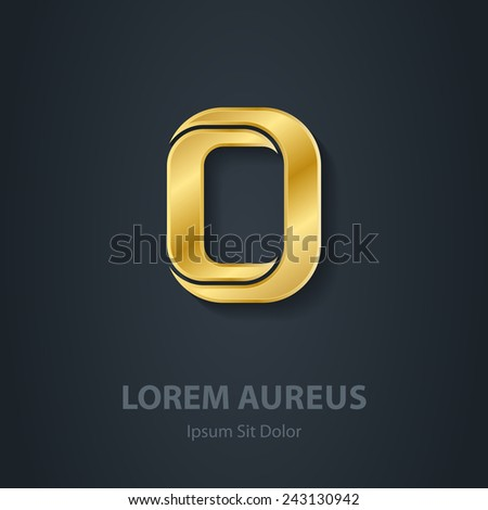 Letter O. Vector elegant gold font. Template for company logo. Design element or icon. - stock vector