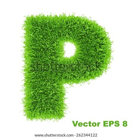 Letter of grass alphabet, vector illustration EPS 8. - stock vector