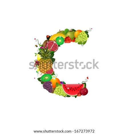 Letter of juicy fruit C - stock vector