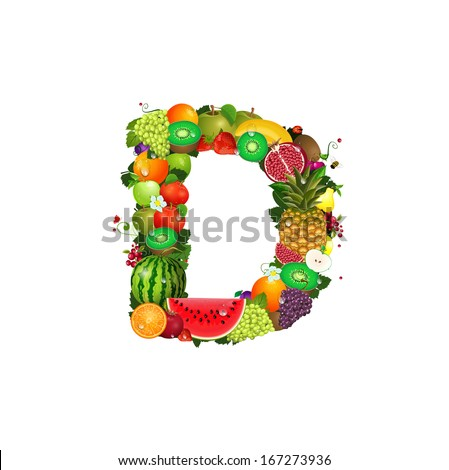 Letter of juicy fruit D - stock vector