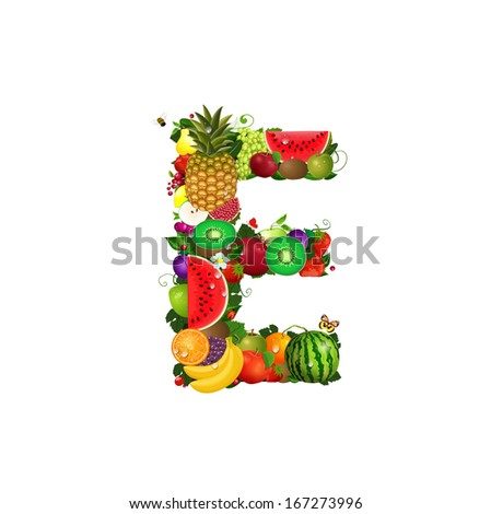Letter of juicy fruit E - stock vector