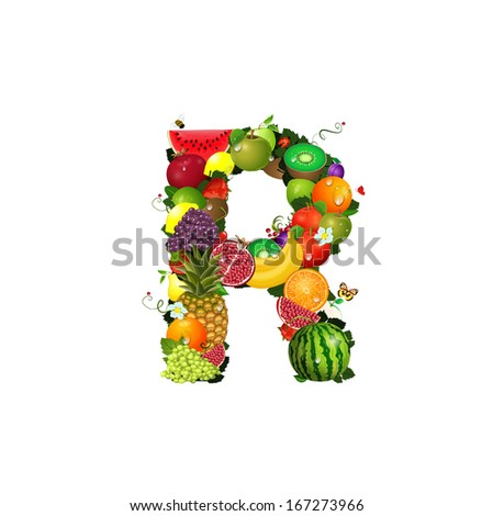 Letter of juicy fruit R - stock vector