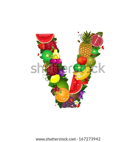 Letter of juicy fruit V - stock vector