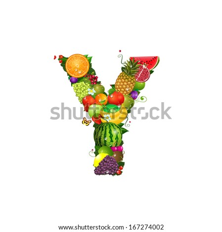 Letter of juicy fruit Y - stock vector