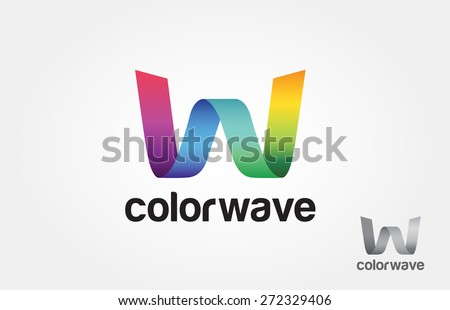 Letter of W logo, or color W logo, or color wave logo. - stock vector