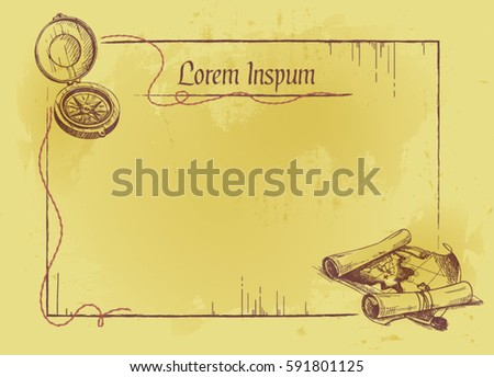 Letter invitation blank card pirate style stock photo photo vector letter or invitation blank card in pirate style stopboris Image collections