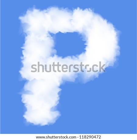Letter P  cloud shape - stock vector