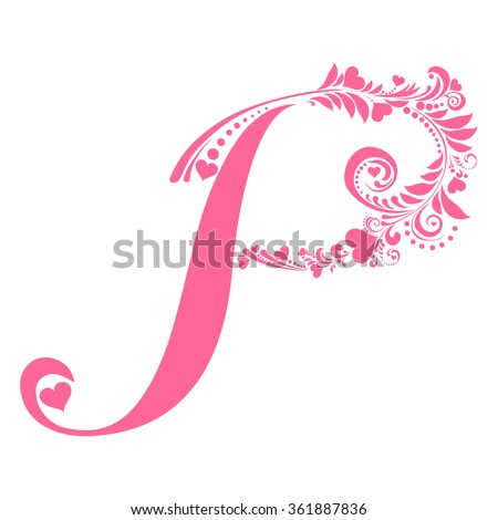 Letter D Isolated On White Romantic Stock Vector 276050723