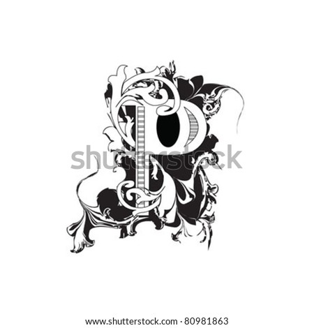 Letter P Ornate Black and White - stock vector