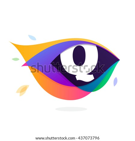 Letter Q logo in peacock feather icon. Multicolor vector alphabet letters for app icon, corporate identity, card, labels or posters. - stock vector