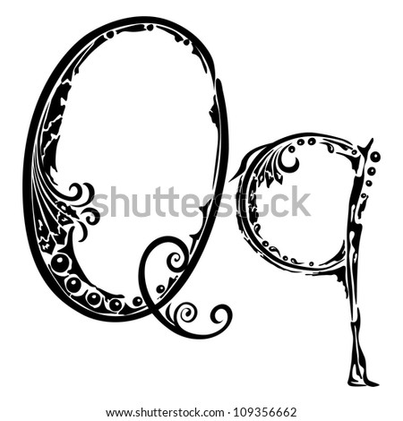 Letter Q q in the style of abstract floral pattern on a white background