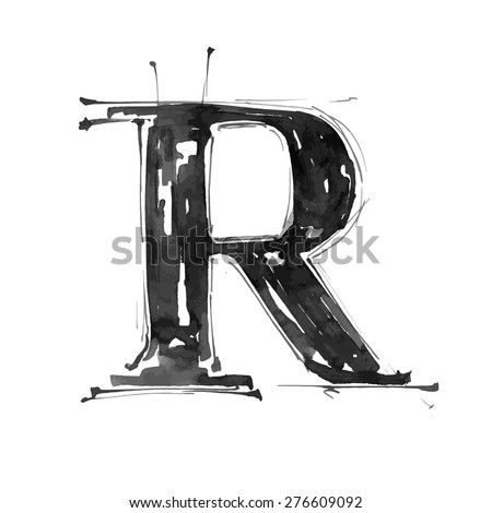 letter R. Alphabet symbol - grunge hand draw paint / vector illustration - stock vector