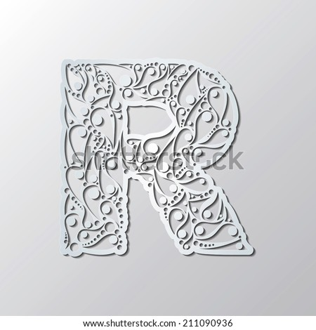 floral abc decorative letter p isolated on white