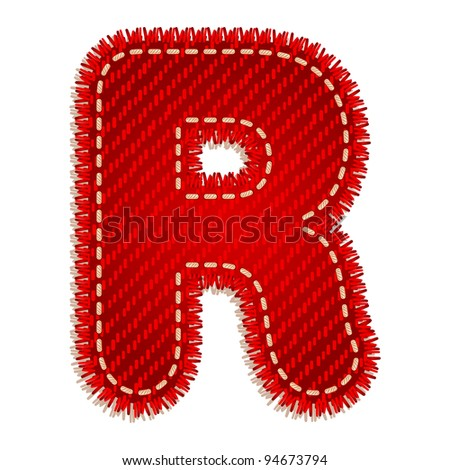 Letter R from red textile alphabet - stock vector