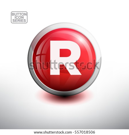 Letter R in 3D Glossy Red Button for web Icon, Education Icon and Alphabet Icon. Vector Illustration
