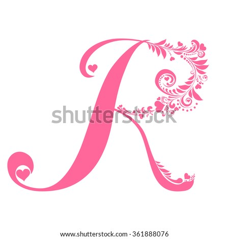 Letter K Isolated On White Romantic Stock Vector