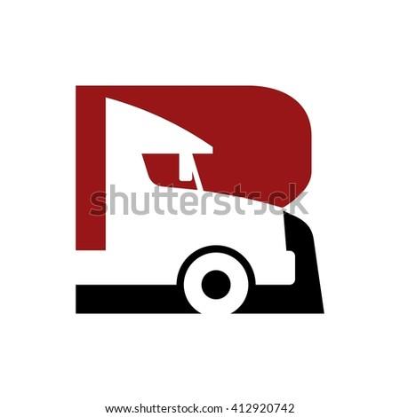letter r logo vector truck logo stock vector 412920742 shutterstock rh shutterstock com truck logos for business truck logo creator