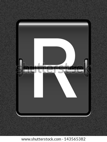 Letter R on a mechanical timetable - stock vector