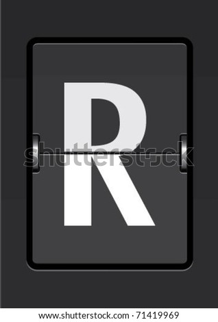 letter r  on a mechanical timetable