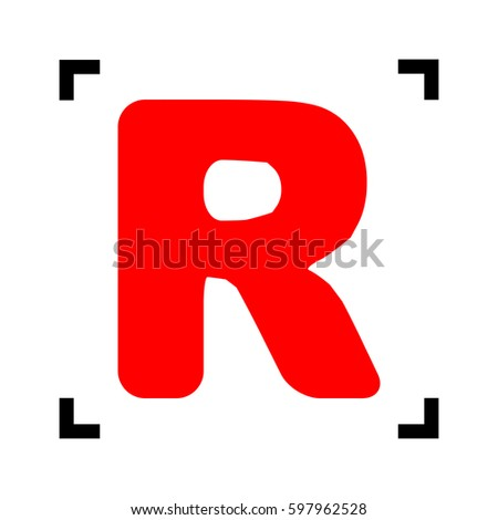 letter r sign design template element vector red icon inside black focus corners on