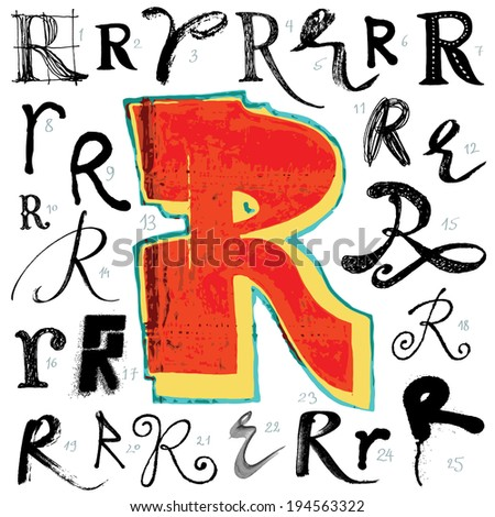 Letter R. Vector alphabet. Hand drawn letters. Letters written with a brush. Spots and blotches. - stock vector