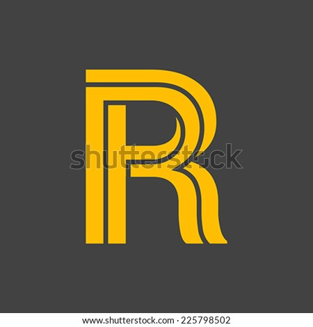 Letter R vector alphabet impossible shape.  ABC concept type as logo. Typography design - stock vector