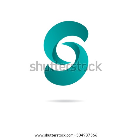 Letter S logo design template in blue colors. Vector logotype. - stock vector
