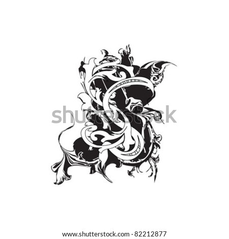 Letter S Ornate Black and White - stock vector