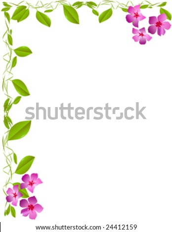 Letter size frame of vines and flowers - stock vector
