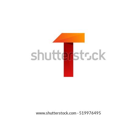 Letter T Colorful Origami 3D Ribbon Logo Design Template Element