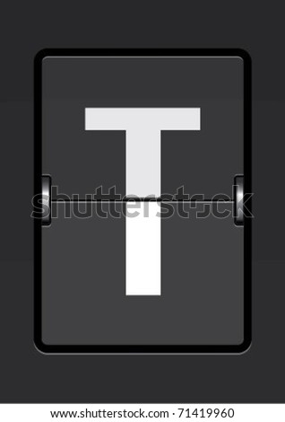 letter t  on a mechanical timetable - stock vector
