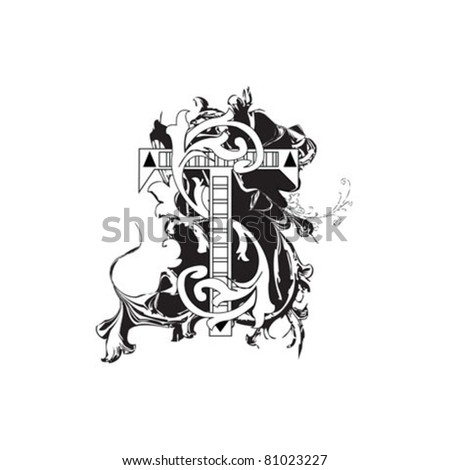 Letter T Ornate Black and White - stock vector